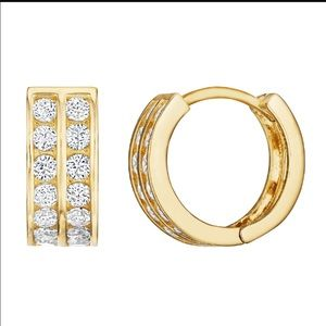 14K Solid Gold Two Row CZ Huggie Hoop Earring